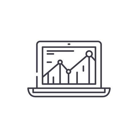 Productivity increase line icon concept. Productivity increase vector linear illustration, sign, symbol Illustration