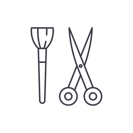 Scissors and visagiste brush line icon concept. Scissors and visagiste brush vector linear illustration, sign, symbol Illustration