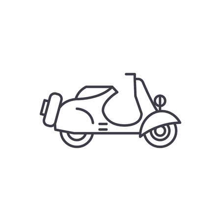 Scooter line icon concept. Scooter vector linear illustration, sign, symbol