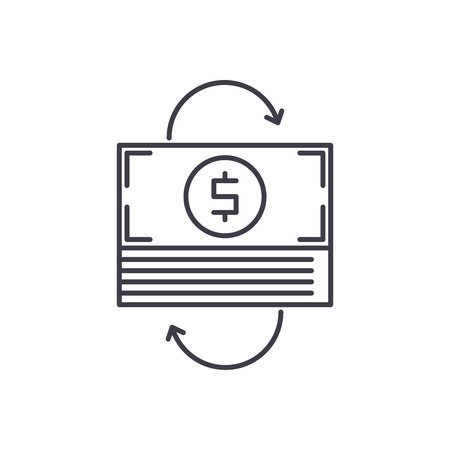 Refinancing line icon concept. Refinancing vector linear illustration, sign, symbol