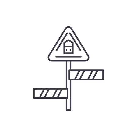 Road sign line icon concept. Road sign vector linear illustration, sign, symbol  イラスト・ベクター素材