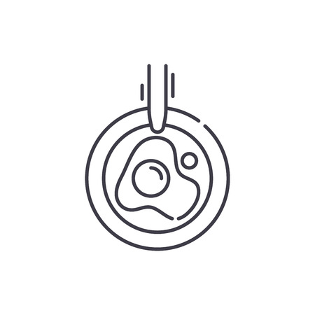 Scrambled eggs line icon concept. Scrambled eggs vector linear illustration, sign, symbol