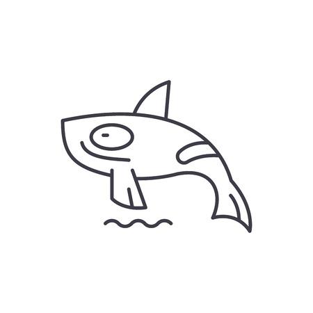 Shark killer whale line icon concept. Shark killer whale vector linear illustration, sign, symbol