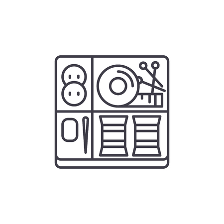 Sewing kit line icon concept. Sewing kit vector linear illustration, sign, symbol