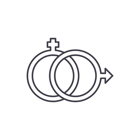 Sexology line icon concept. Sexology vector linear illustration, sign, symbol  イラスト・ベクター素材