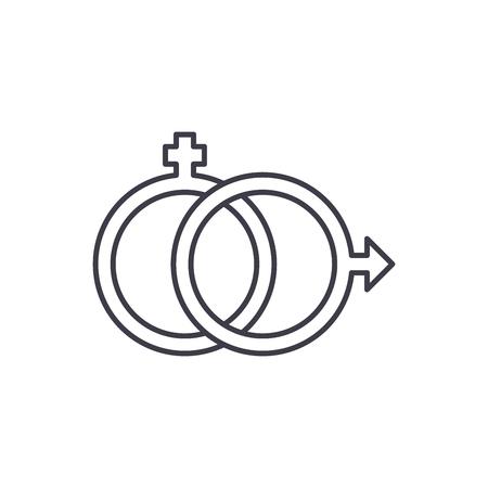 Sexology line icon concept. Sexology vector linear illustration, sign, symbol Illustration