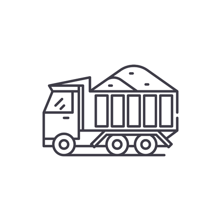 Sand machine line icon concept. Sand machine vector linear illustration, sign, symbol