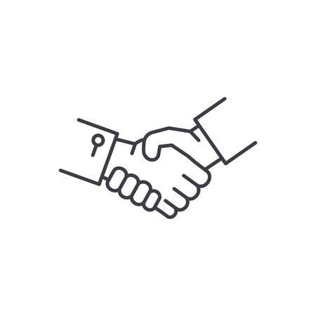 Hände schütteln Symbol Leitung Konzept. Hände schütteln lineare Vektorgrafik, Zeichen, Symbol Vektorgrafik