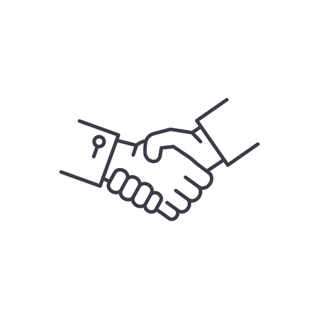 Shake hands line icon concept. Shake hands vector linear illustration, sign, symbol