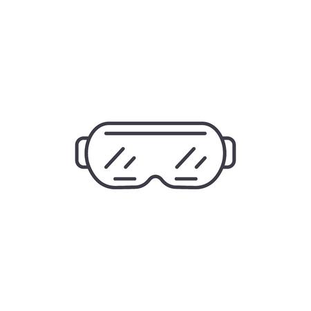 Ski goggles line icon concept. Ski goggles vector linear illustration, sign, symbol Ilustração