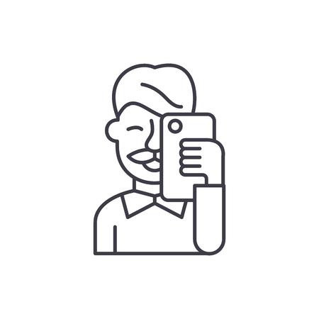 Selfies line icon concept. Selfies vector linear illustration, sign, symbol Illustration