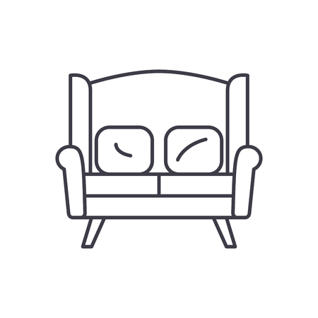 Sofa for two line icon concept. Sofa for two vector linear illustration, sign, symbol
