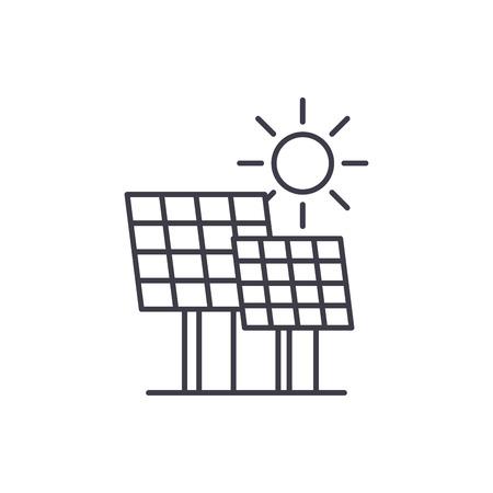 Concepto de icono de línea de energía solar. Ilustración linear del vector de energía solar, signo, símbolo