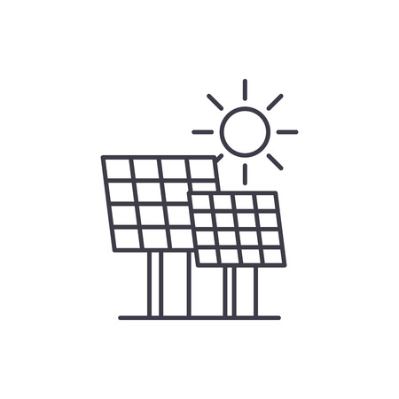 Solar power line icon concept. Solar power vector linear illustration, sign, symbol