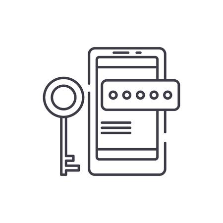 Smartphone security line icon concept. Smartphone security vector linear illustration, sign, symbol Foto de archivo - 127494289