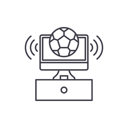 Sports broadcast line icon concept. Sports broadcast vector linear illustration, sign, symbol