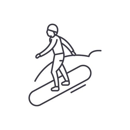Snowboard line icon concept. Snowboard vector linear illustration, sign, symbol Illustration