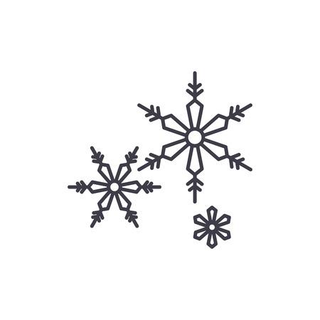 Snowflakes line icon concept. Snowflakes vector linear illustration, sign, symbol Ilustração