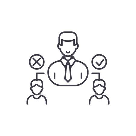 Social hierarchy line icon concept. Social hierarchy vector linear illustration, sign, symbol