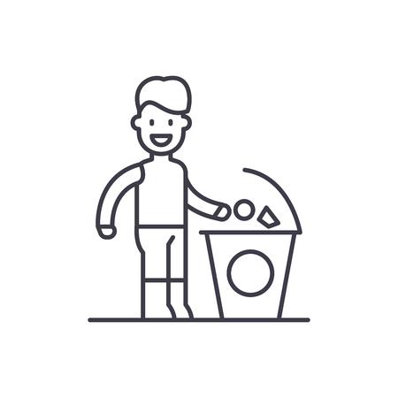 L'icône de la ligne poubelle séparée concept. Illustration linéaire vectorielle poubelle séparée, signe, symbole