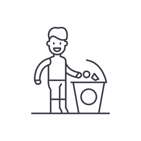 Separate trash line icon concept. Separate trash vector linear illustration, sign, symbol