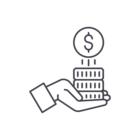 Sponsorship money line icon concept. Sponsorship money vector linear illustration, sign, symbol Vecteurs