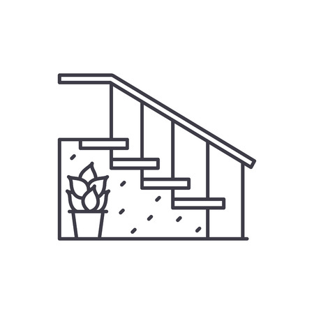 Staircase at the entrance line icon concept. Staircase at the entrance vector linear illustration, sign, symbol