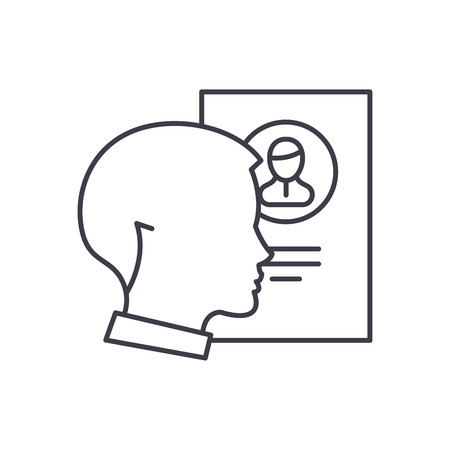 Staff analysis line icon concept. Staff analysis vector linear illustration, sign, symbol Illustration