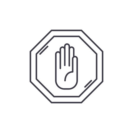 Stop line icon concept. Stop vector linear illustration, sign, symbol