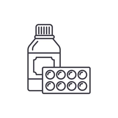 Sport supplements line icon concept. Sport supplements vector linear illustration, sign, symbol