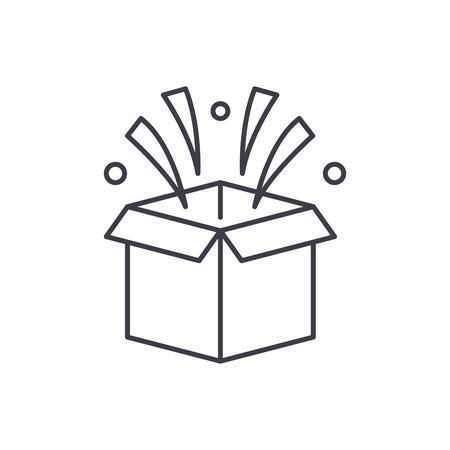 Surprise in box line icon concept. Surprise in box vector linear illustration, sign, symbol