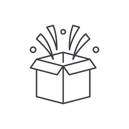 Surprise in box line icon concept. Surprise in box vector linear illustration, sign, symbol