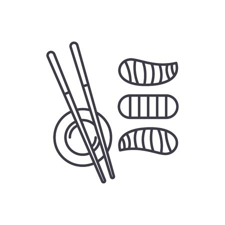 Sushi line icon concept. Sushi vector linear illustration, sign, symbol Illustration