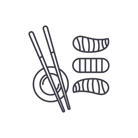 Sushi line icon concept. Sushi vector linear illustration, sign, symbol 일러스트
