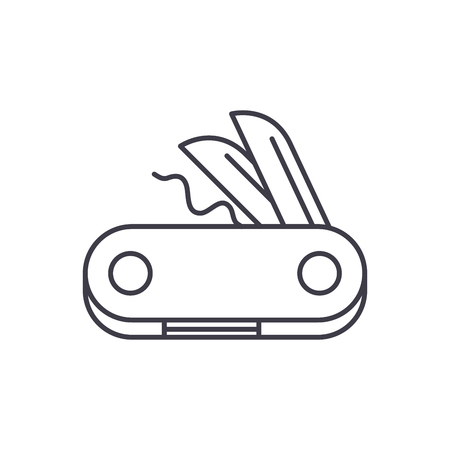 Swiss knife line icon concept. Swiss knife vector linear illustration, sign, symbol