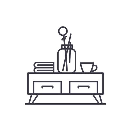 Tea table line icon concept. Tea table vector linear illustration, sign, symbol Иллюстрация