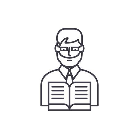 Teacher line icon concept. Teacher vector linear illustration, sign, symbol