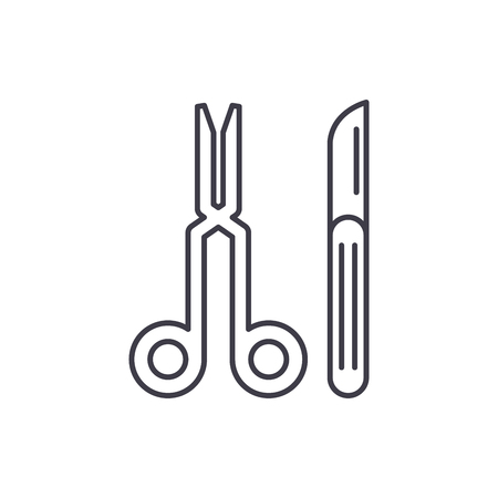 Surgeons tools line icon concept. Surgeons tools vector linear illustration, sign, symbol Çizim