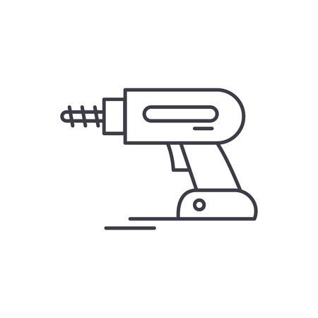 Screwdriver works line icon concept. Screwdriver works vector linear illustration, sign, symbol