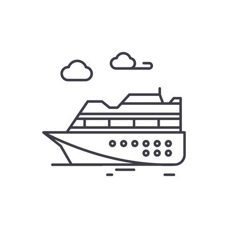 Ski resort line icon concept. Ski resort vector linear illustration, sign, symbol Stock Illustratie