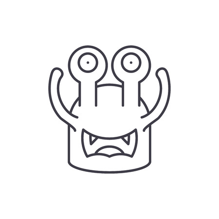 Toothy cast line icon concept. Toothy cast vector linear illustration, sign, symbol Illustration