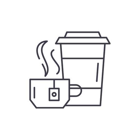 Tea party line icon concept. Tea party vector linear illustration, sign, symbol