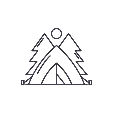 Tent in the forest line icon concept. Tent in the forest vector linear illustration, sign, symbol