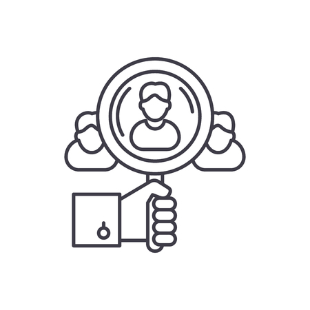 Talent search line icon concept. Talent search vector linear illustration, sign, symbol