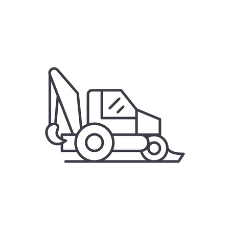 Tractor line icon concept. Tractor vector linear illustration, sign, symbol