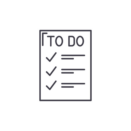 To do list line icon concept. To do list vector linear illustration, sign, symbol Stock Illustratie