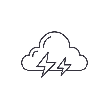 Thunderstorm line icon concept. Thunderstorm vector linear illustration, sign, symbol