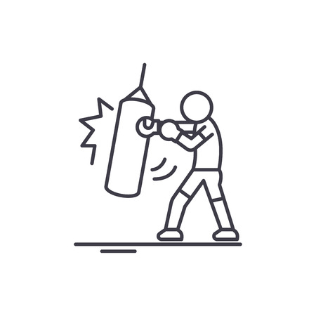 Taekwondo line icon concept. Taekwondo vector linear illustration, sign, symbol Illustration