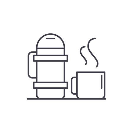 Flask and mug line icon concept. Flask and mug vector linear illustration, sign, symbol Illustration
