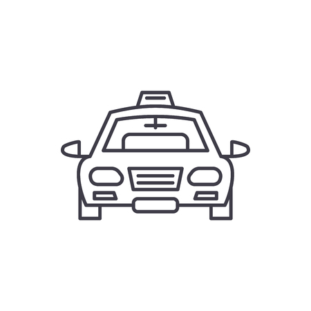 Taxi line icon concept. Taxi vector linear illustration, sign, symbol